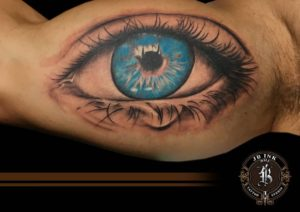 Blue eye inside arm tattoo by naradj tattoo JB Ink Tattoo Bali