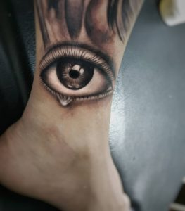 Crying eye tattoo by Teja Tattoo - The Ink Parlour Bali