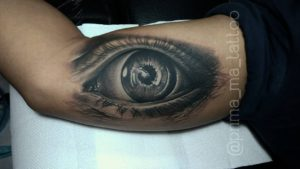 Inside arm tattoo eye by Prima - MA TATTOO BALI