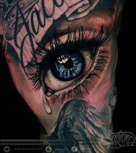 Realistic eye tattoo by Denario at Sabian Ink Bali