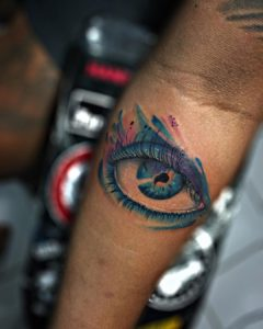 Watercolor eye tattoo by I Gede Persada @gedurtattoonew_official