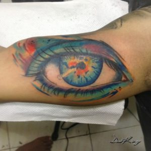 Colorful eye tattoo by DasKing Bali