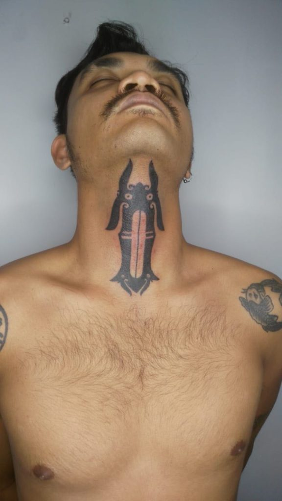 Iban Neck Tattoo from Hends Dyak