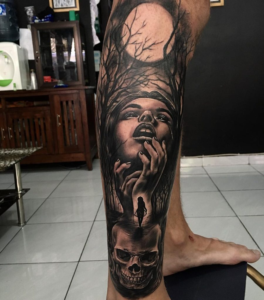 Kadek Lanyuk Horror Tattoo Bali Woman Touching Face Oct 2016