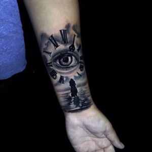 Inner arm eye tattoo by Andri for Diamond Dog Tattoo Shop