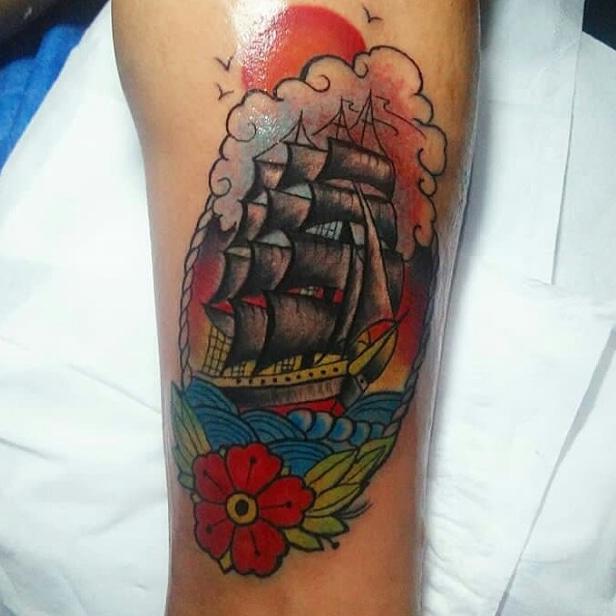 neotrad ship by wah ink tattoo bali
