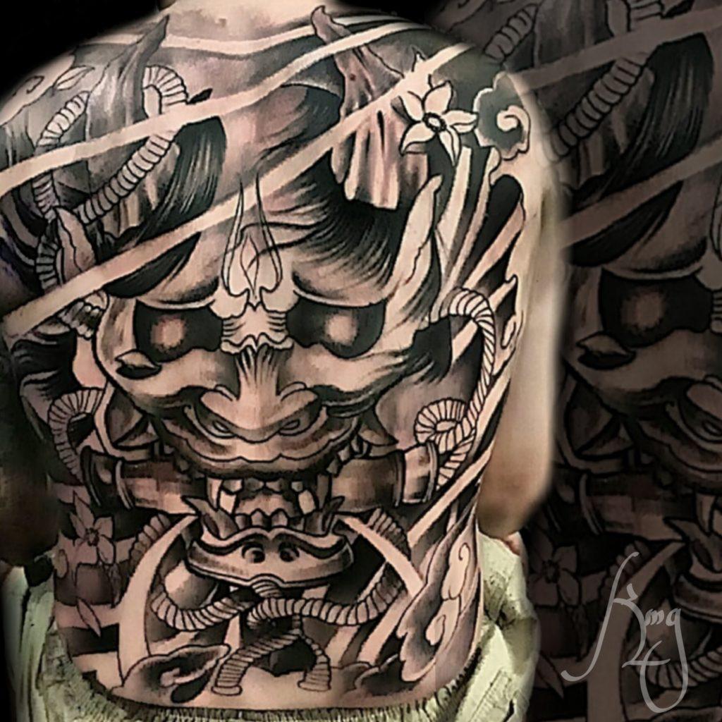 Hanya Mask Tattoo Backpiece by Komeng Inked