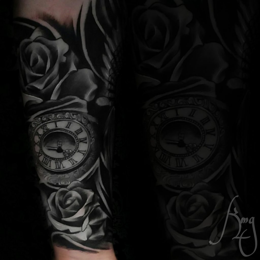 Pocketwatch clock tattoo by Komeng Inked